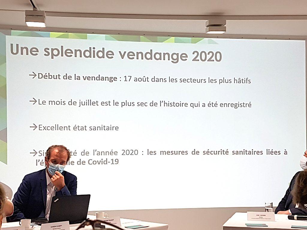 Conférence de presse SGV Champagne du 16 09 2020, Slide récolte. Crédit Photo Pierre d'Ornano aeternus.fr