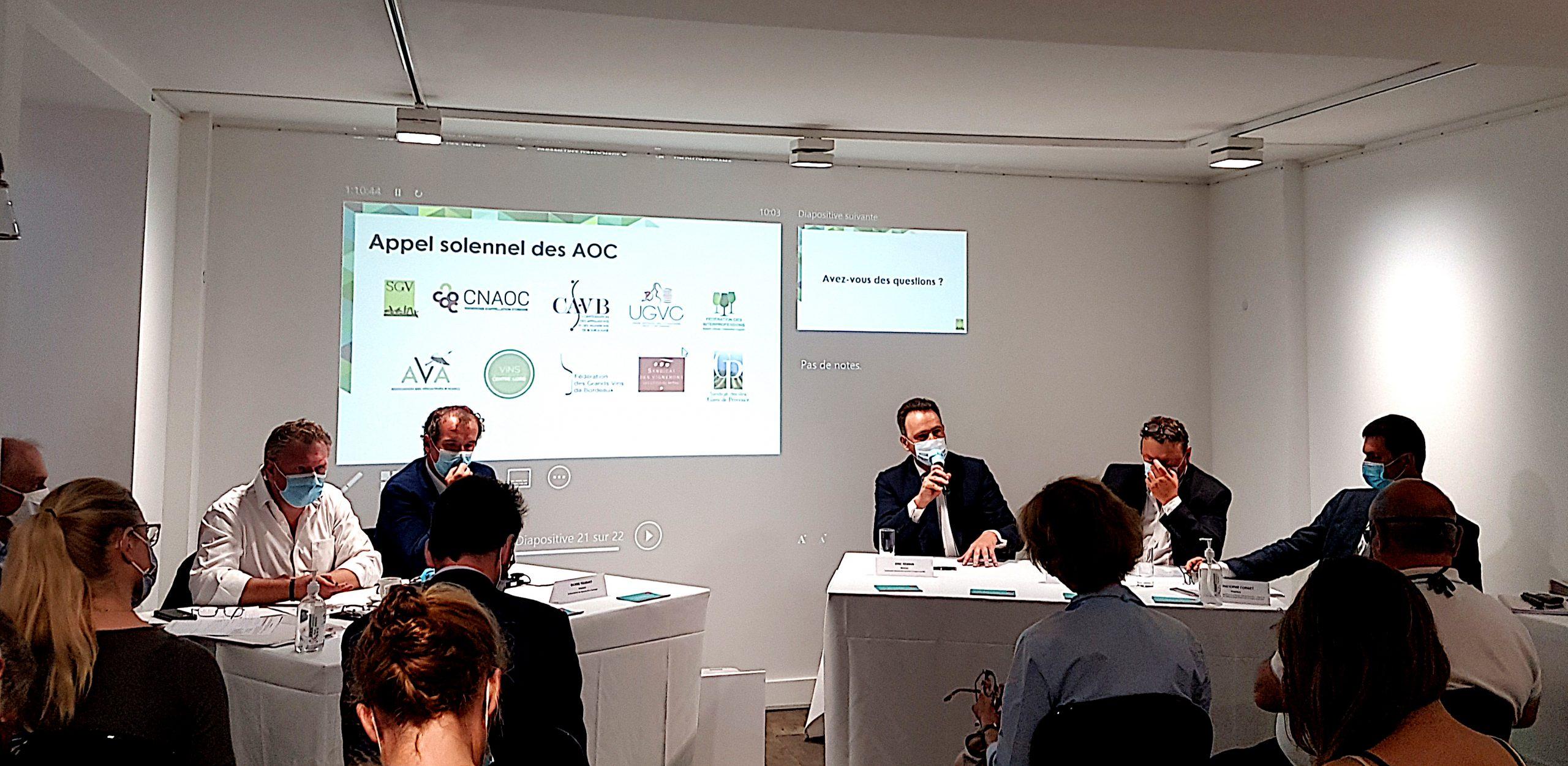 Photo de la conférence de presse SGV Champagne et CNAOC du 16 septembre 2020. Crédit Photo Pierre d'Ornano Aeternus.fr