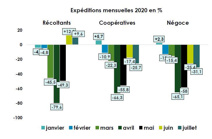 Tableau des expéditions mensuelles de Champagne en %.