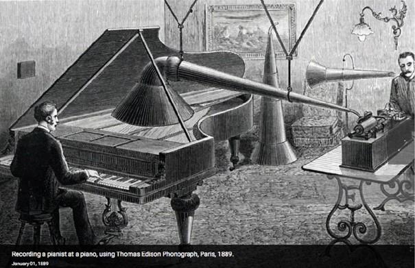 Enregistrement d'une œuvre par un pianiste avec le phonographe Thomas Edison, Paris, 1889.
