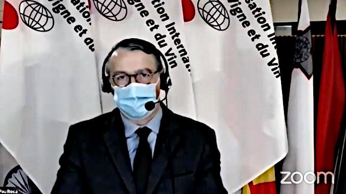 Pau Roca, directeur général de l'OIV, lors de la web conférence de presse du 27 10 2020