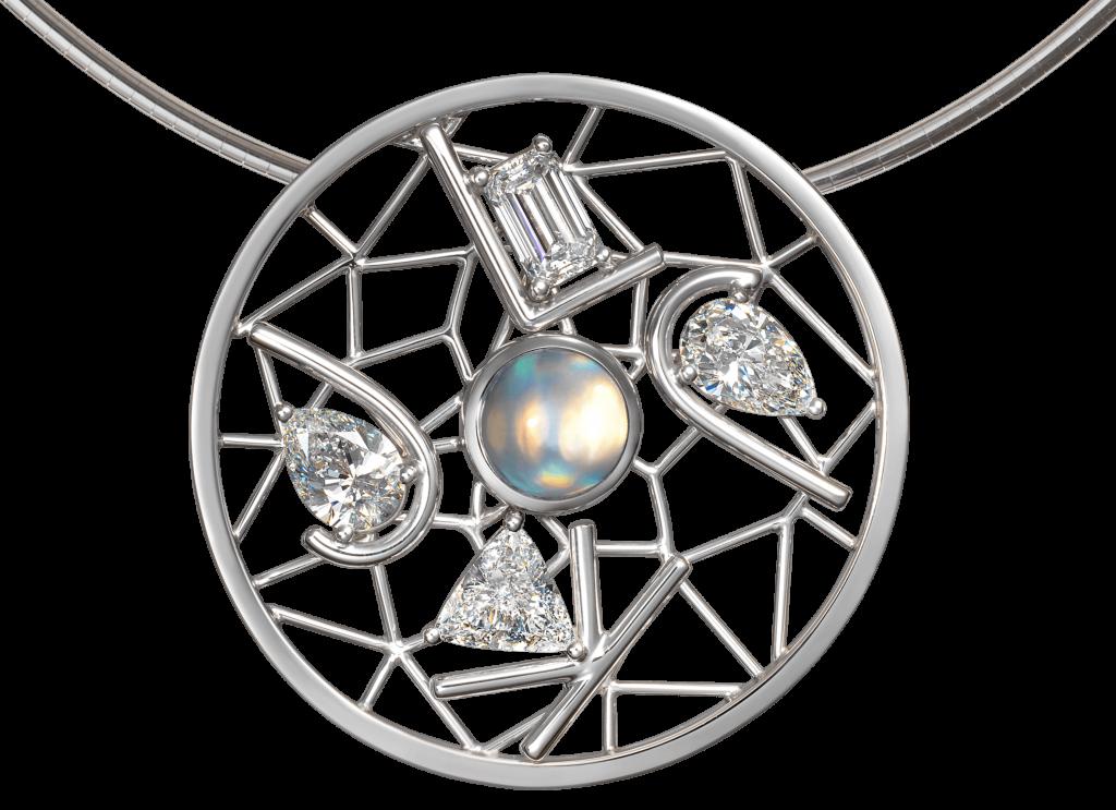 Pendentif Dreamcatcher or blanc diamants et Labradorite. Antoine Chapoutot. Photo © DR