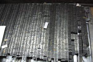 Polices de caractères en plomb utilisées pour l'impression typographique – Imprimerie d'Arts des Montquartiers. Photo © Pierre d'Ornano