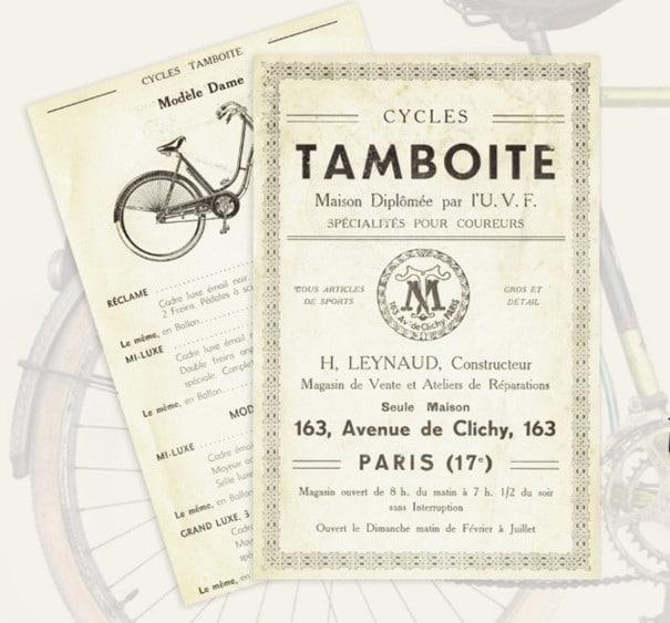 Affiche ancienne de la Maison Tamboite, tarifs des vélos