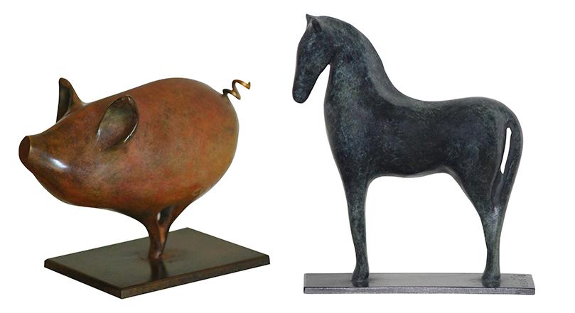 Piggy et Gelinotte, bronzes lisses tendus, fonte à cire perdue - CÉVÉ © DR.