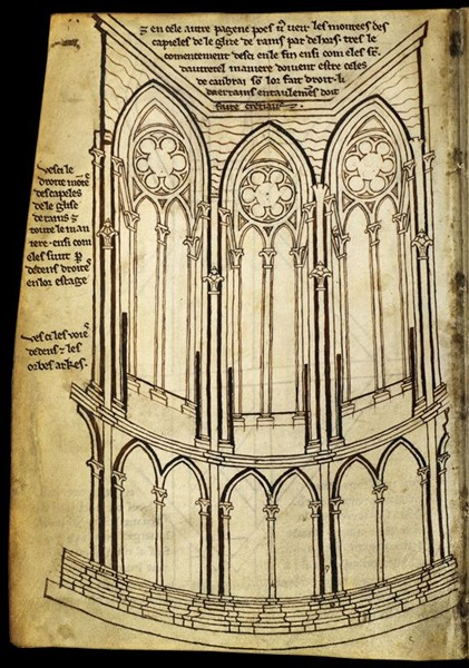 Dans les carnet de Villard de Honnecourt, intérieur du chœur de la cathédrale de Reims.